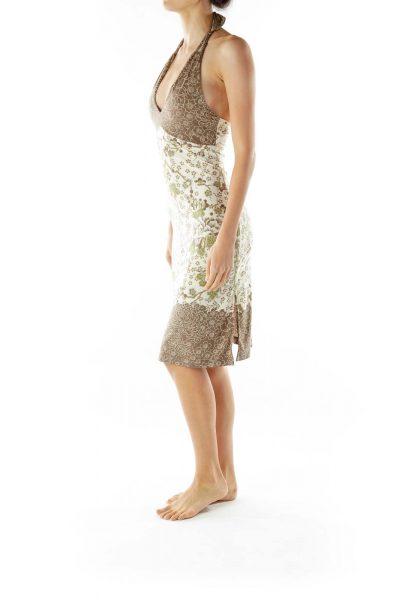 Brown Cream Flower Print Day Dress