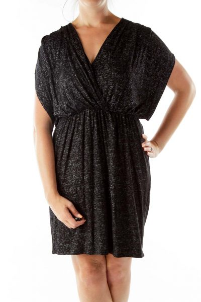 Black Silver Metallic Print Day Dress