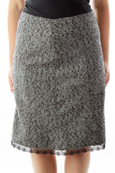 Black White Tweed Skirt