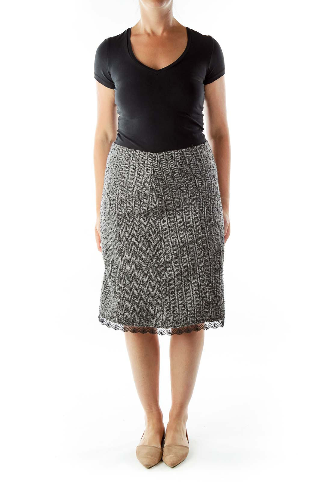 Black White Tweed Skirt