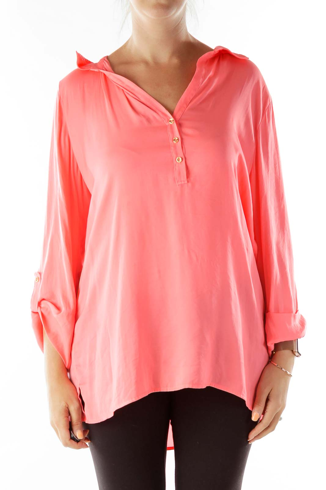 Neon Orange Gold Buttoned Blouse