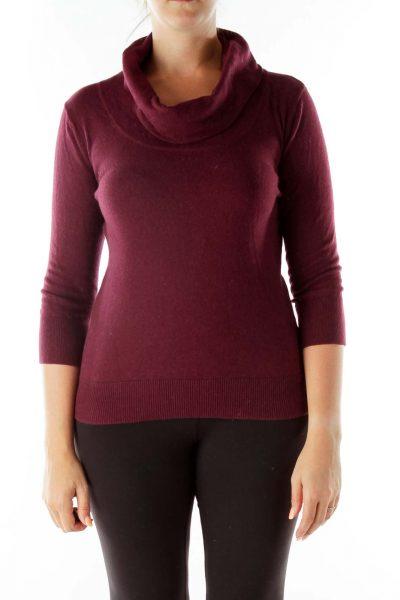 Burgundy Cowl-Neck Sweater