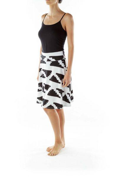 White Black Flared Print Skirt