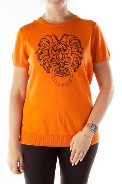 Orange Brown Lion Head Sweater