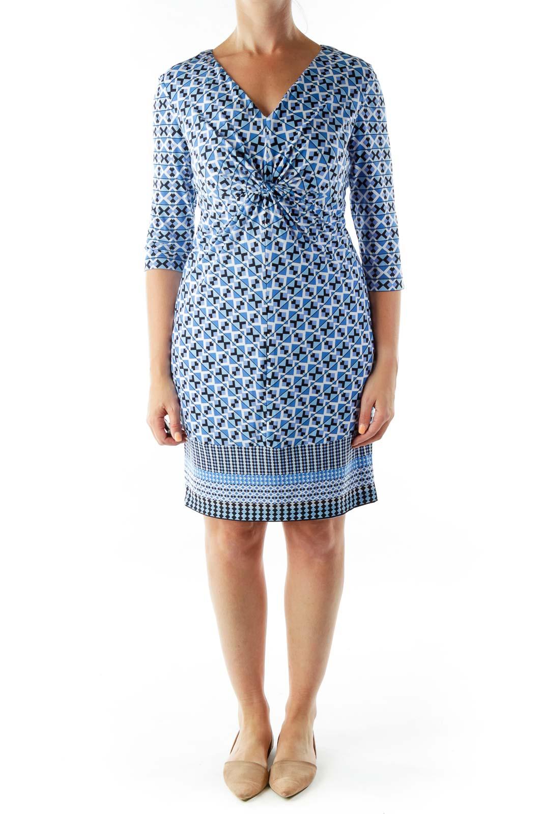 Blue Geometric Print V-neck Dress