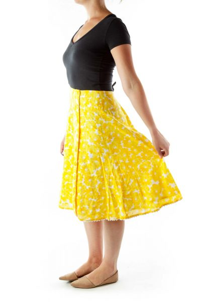 Yellow White Floral Buttoned Flared Skirt