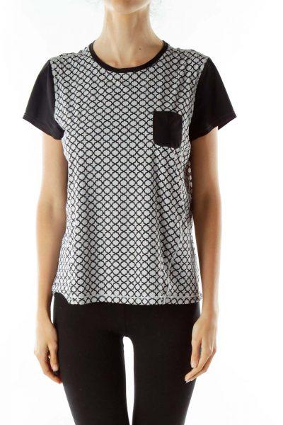 Gray Black Print Sports T-shirt