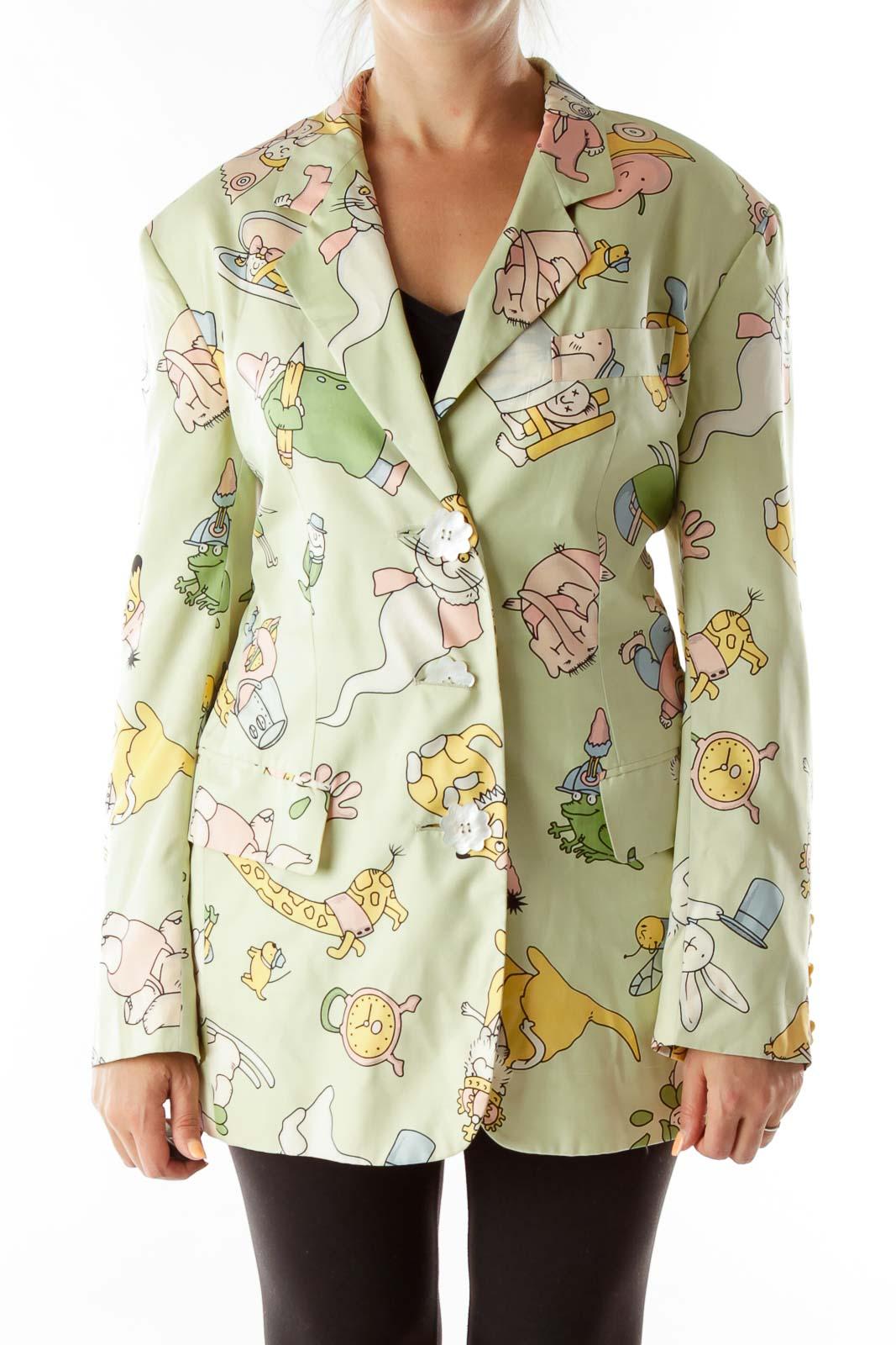 Green Cartoon Flower Buttons Designer Blazer