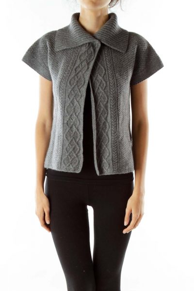 Gray Cable-Knit Cashmere Cardigan