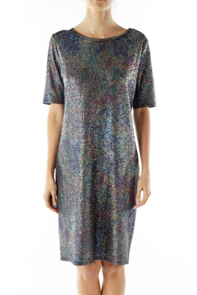 Black Holographic Jersey Dress