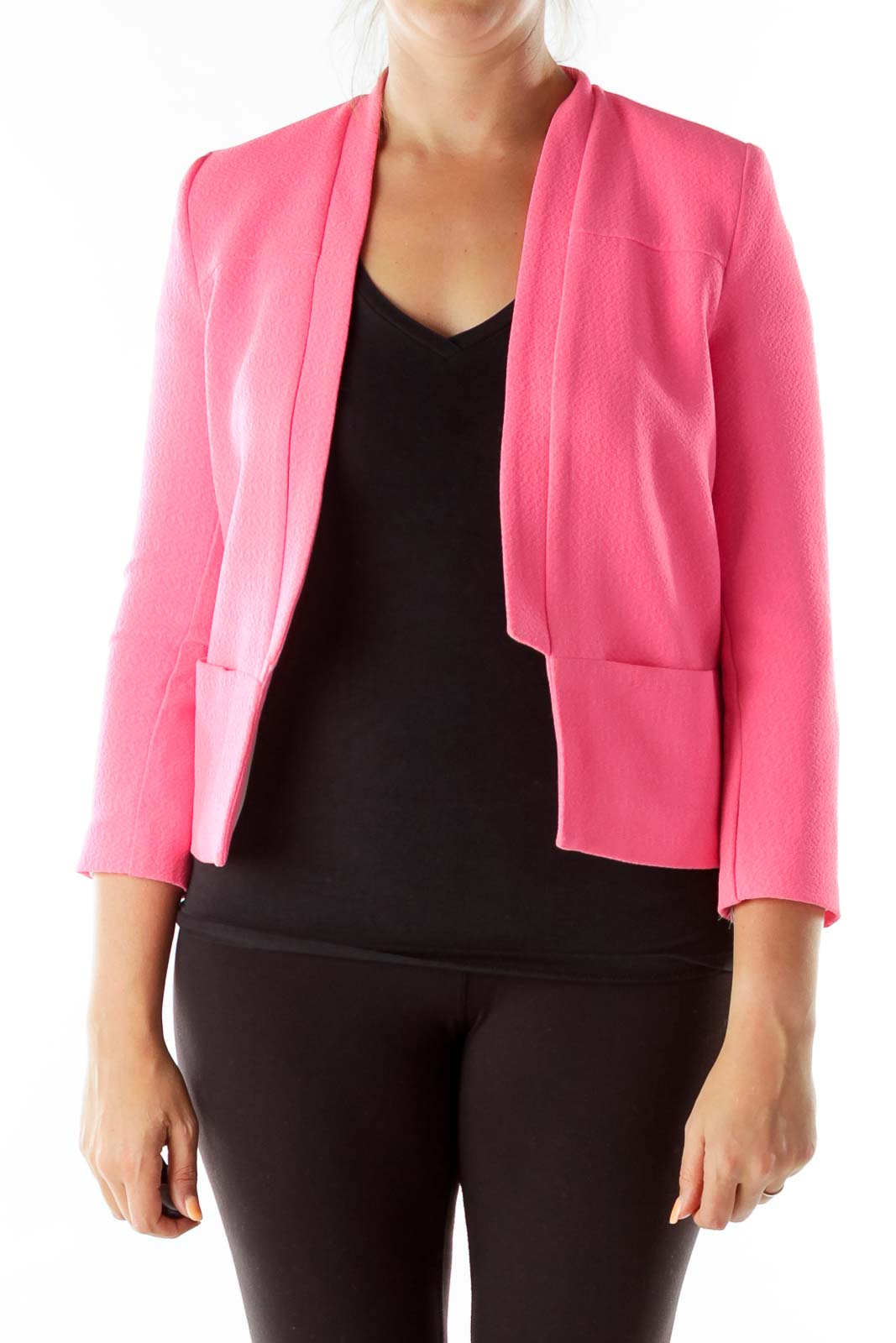 Bubble Pink Collarless Pocketed Blazer