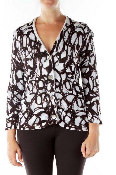 Black White Print Knit Cardigan