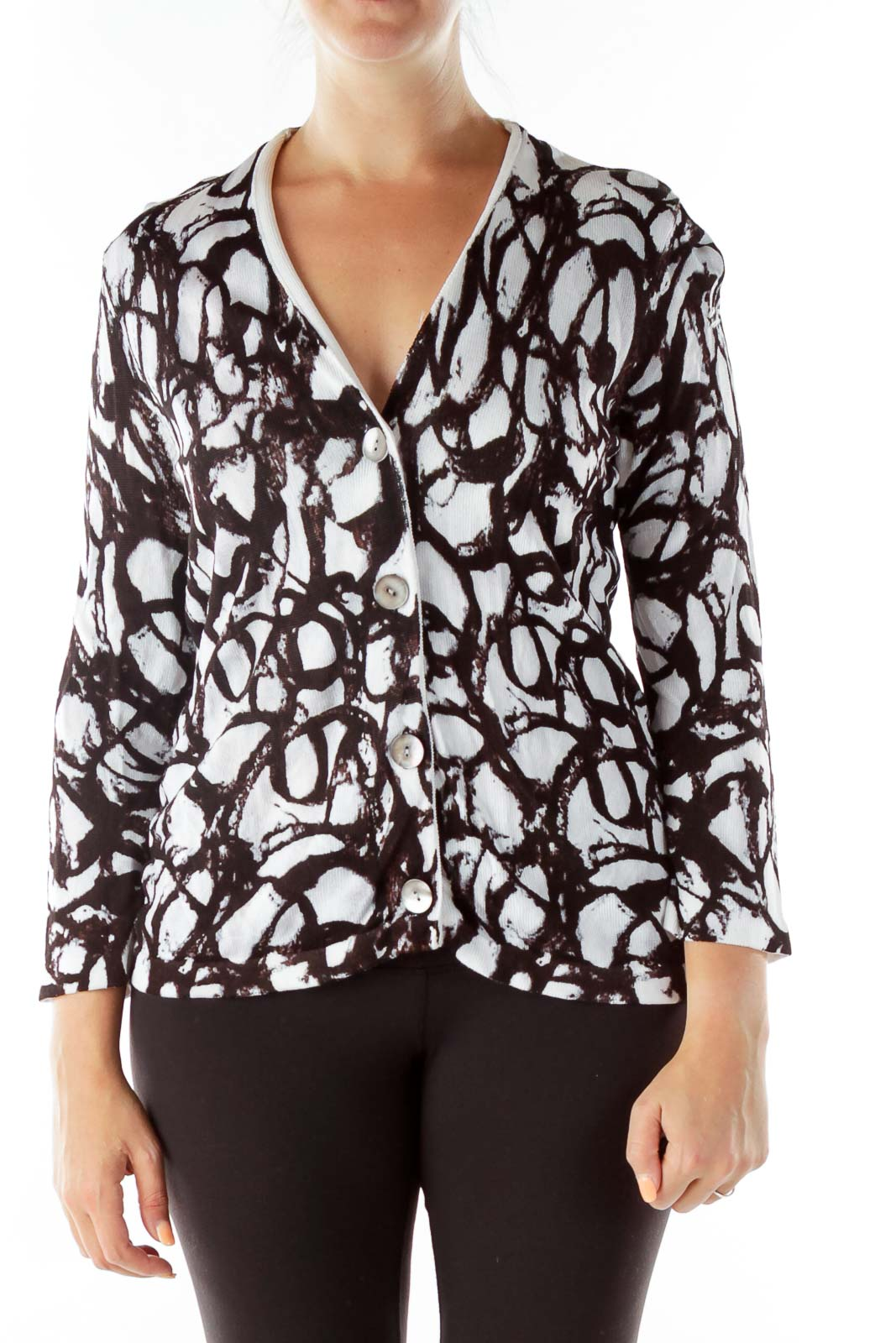 Black White Print Knit Cardigan