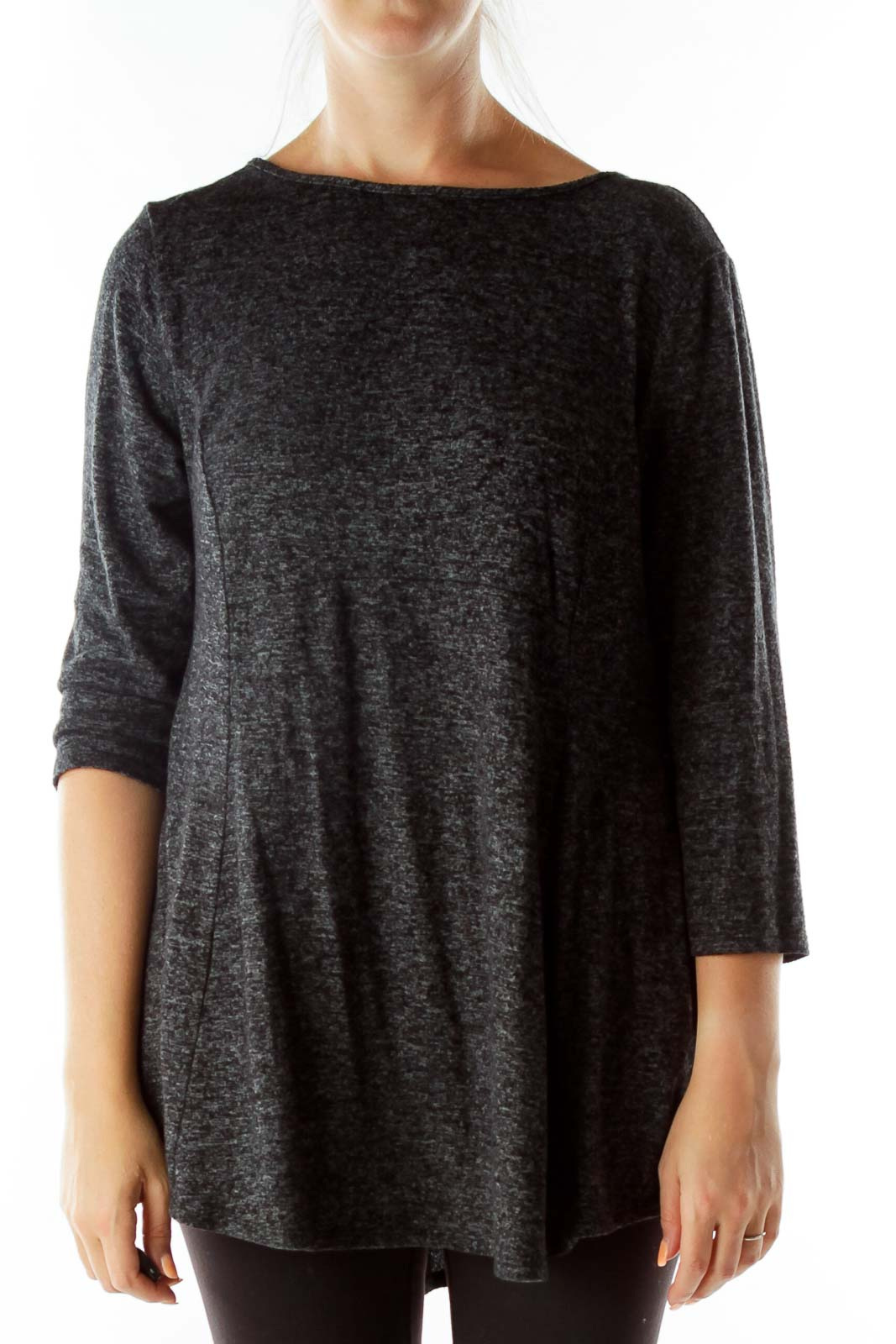 Gray Mottled Knit Top