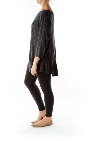 Gray Mottled Knit Top