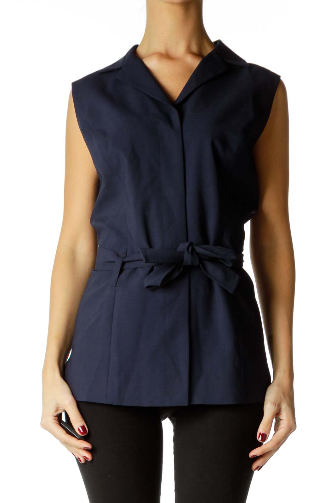 Navy Belted Sleeveless Blouse
