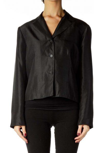 Black Shoulder Padded Blazer