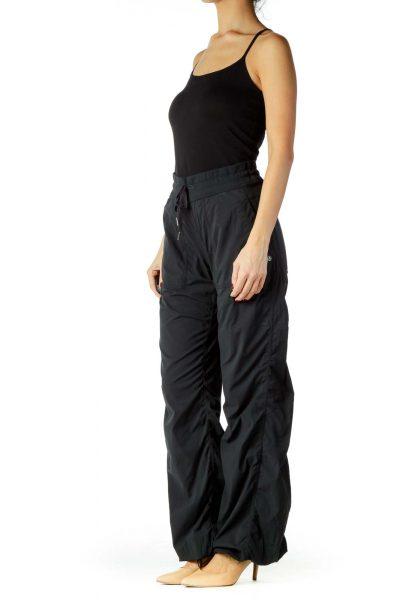 Black Elastic Waist Sports Pants