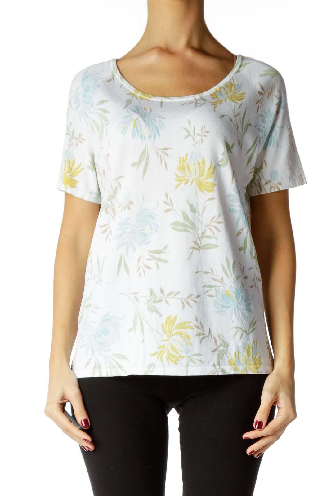 White Blue Green Flower Print Shirt