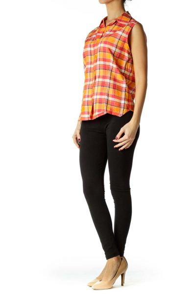Pink Orange White Plaid Tunic
