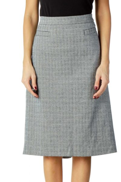 Gray Herringbone Pencil Skirt