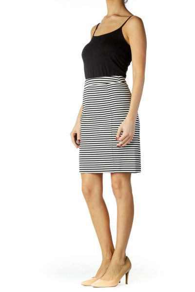 Black White Striped Pencil Skirt
