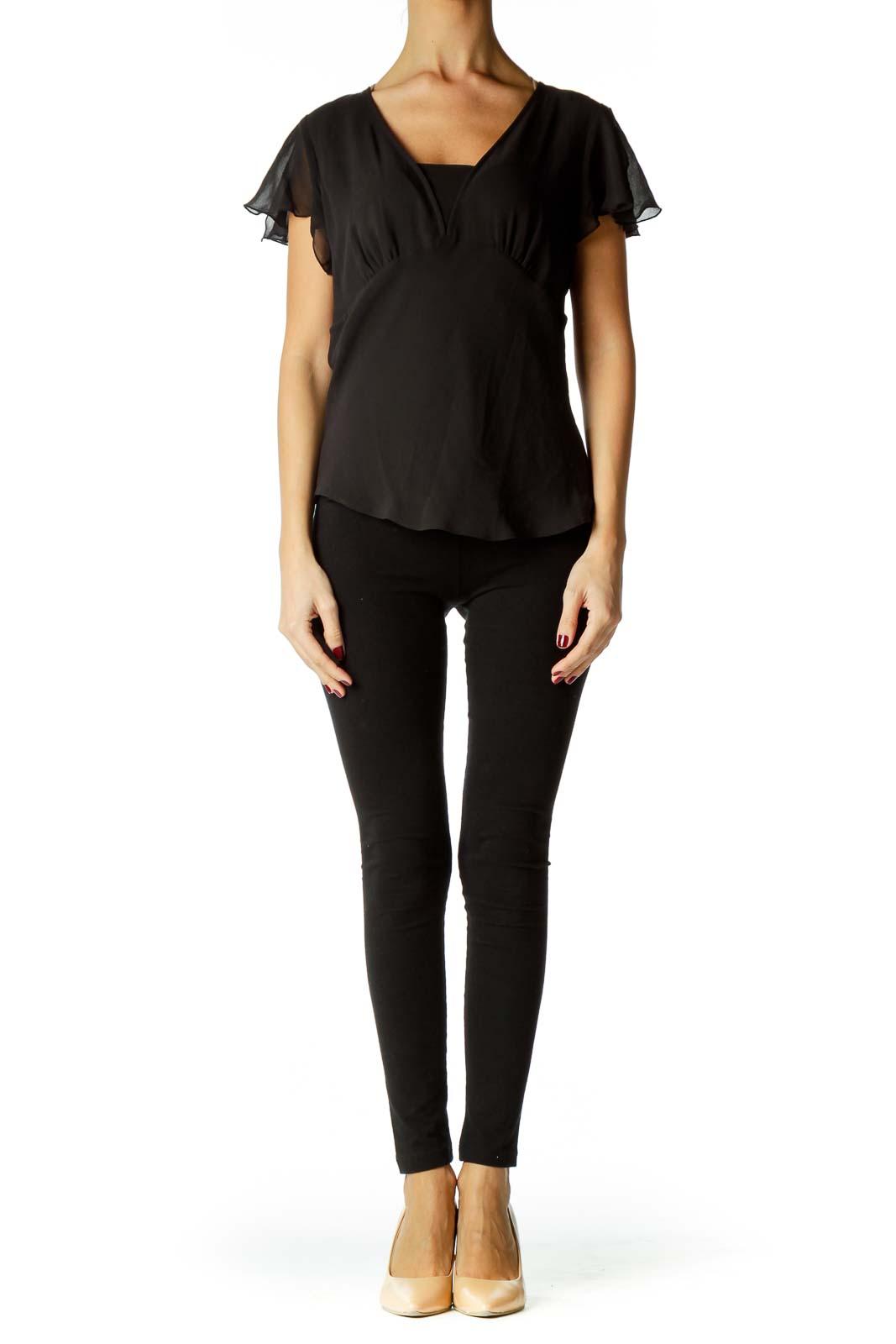 Black V-neck Short Sleeve Blouse