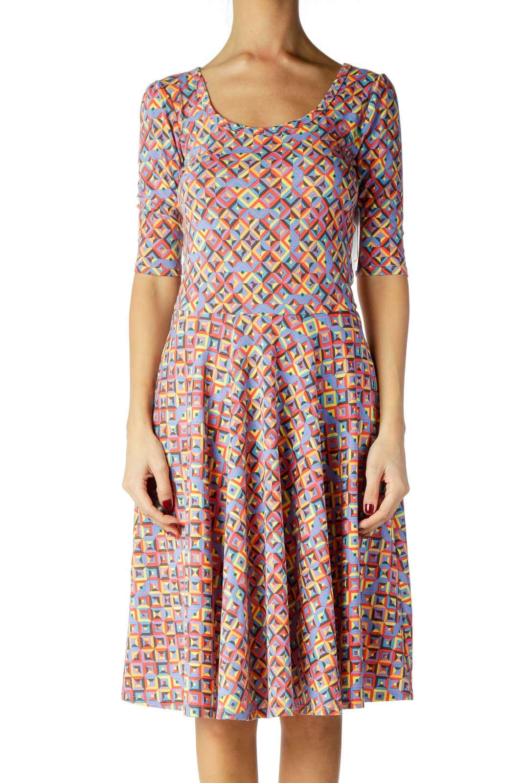Multicolor Geometric Print Day Dress