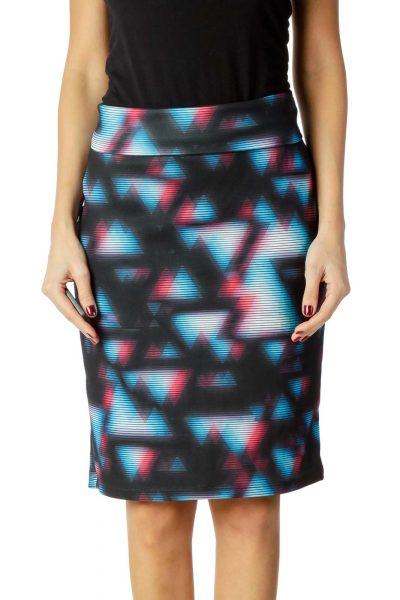 Blue Pink Striped Pencil Skirt