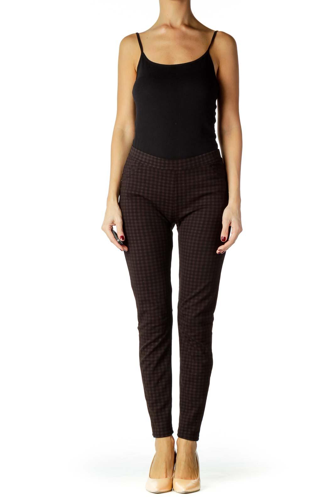 Black Brown Checkered Skinny Pants