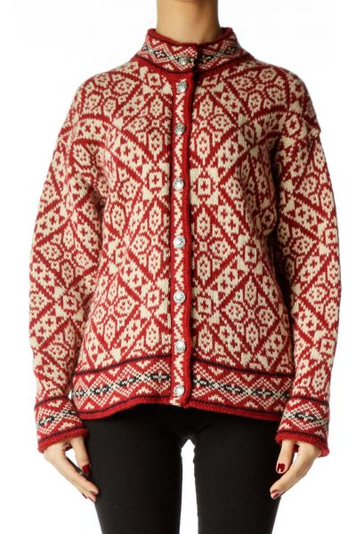 Red White Cable Knit Sweater