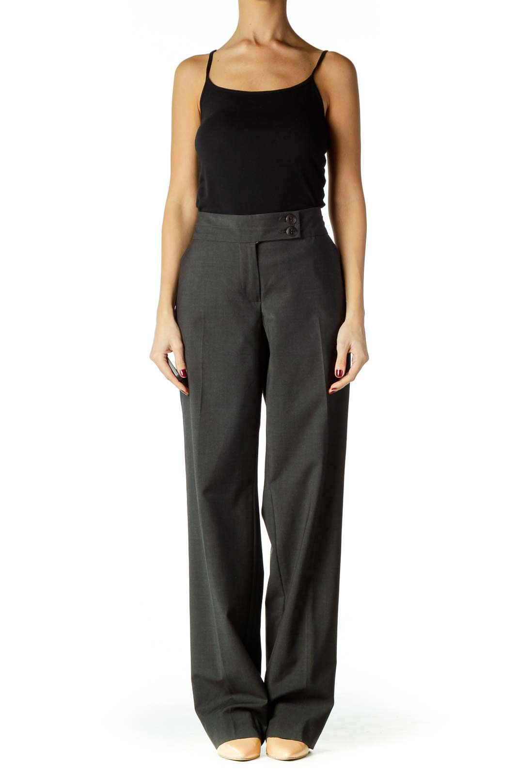 Gray Wool Straight Leg Slacks
