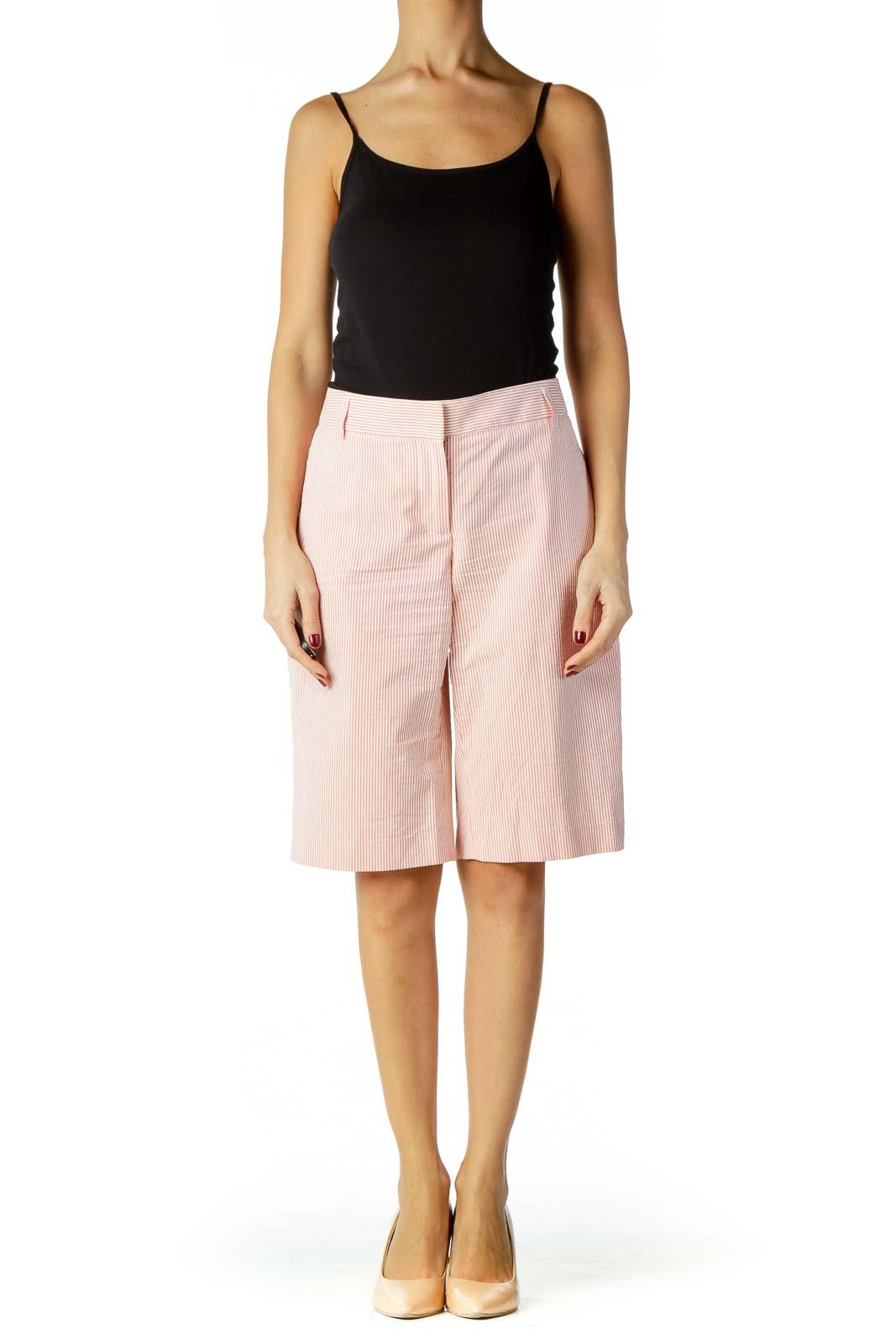 Pink White Pinstripe Bermuda Shorts