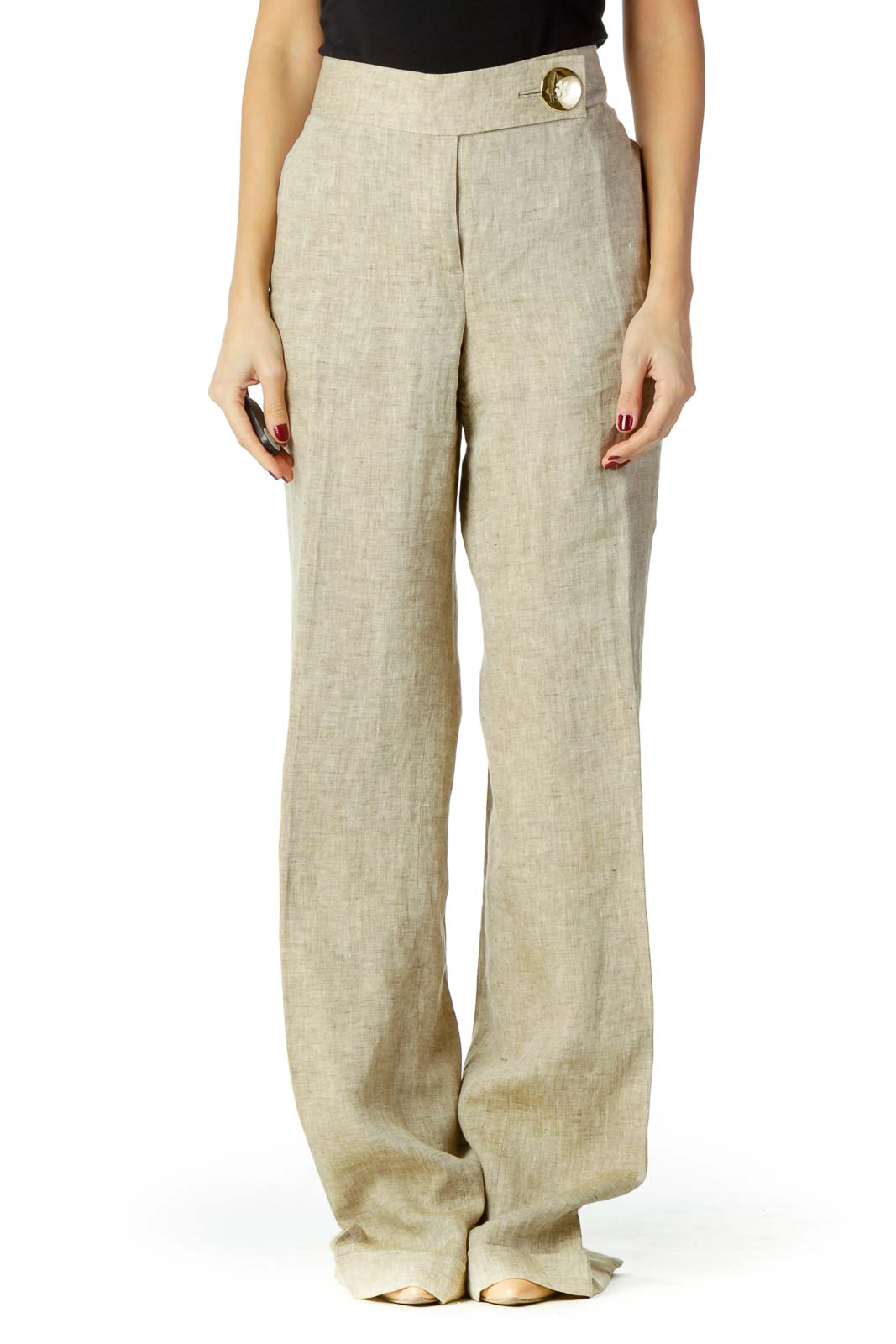 Beige Linen Wide-Leg Slacks