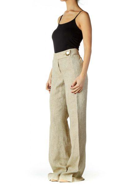 Beige Linen Wide-Leg Slacks