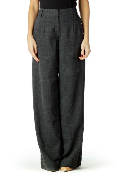 Gray Checkered Wide-leg Pants