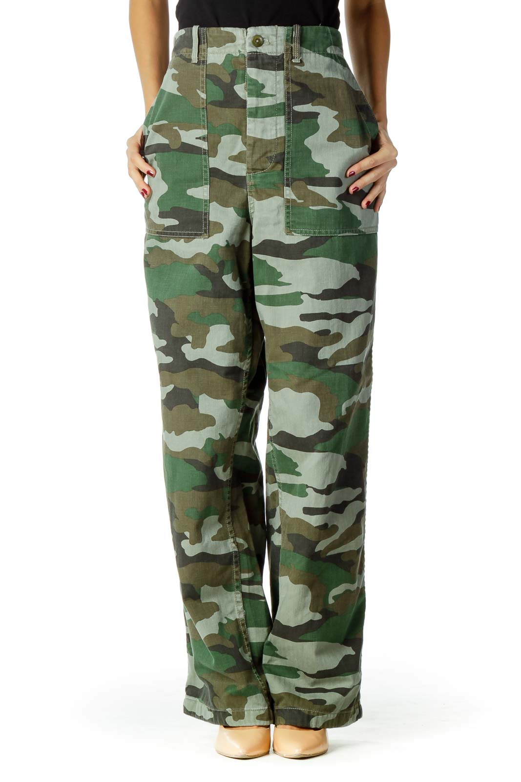 Green Brown Camouflage High-Rise Jeans