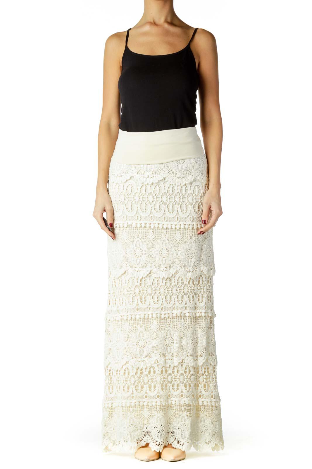 Beige Crocheted Maxi Skirt