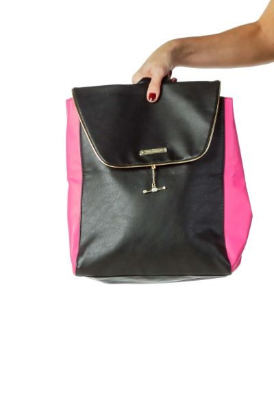 Pink Black Pleather Back Pack