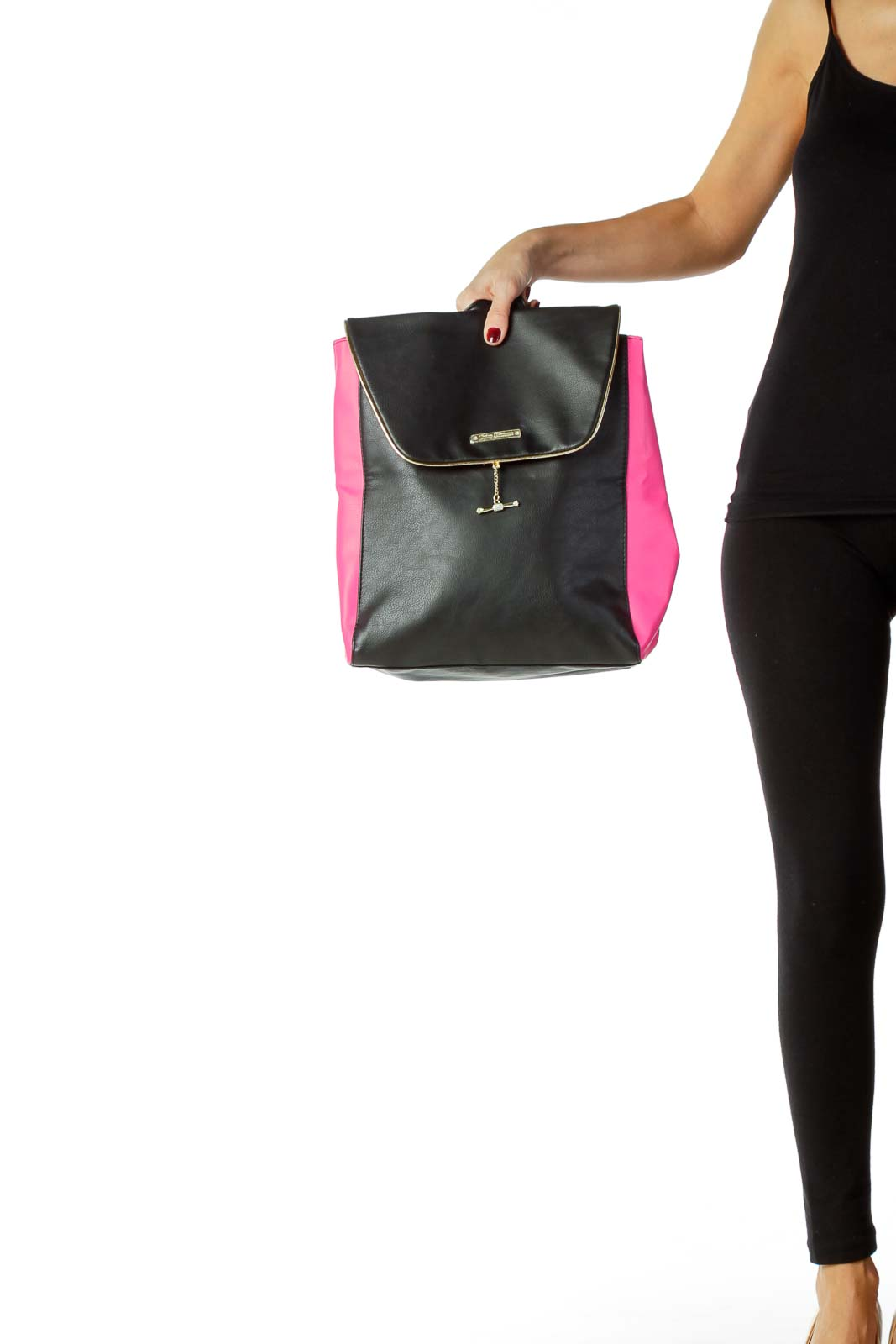 Pink Black Pleather Back Pack