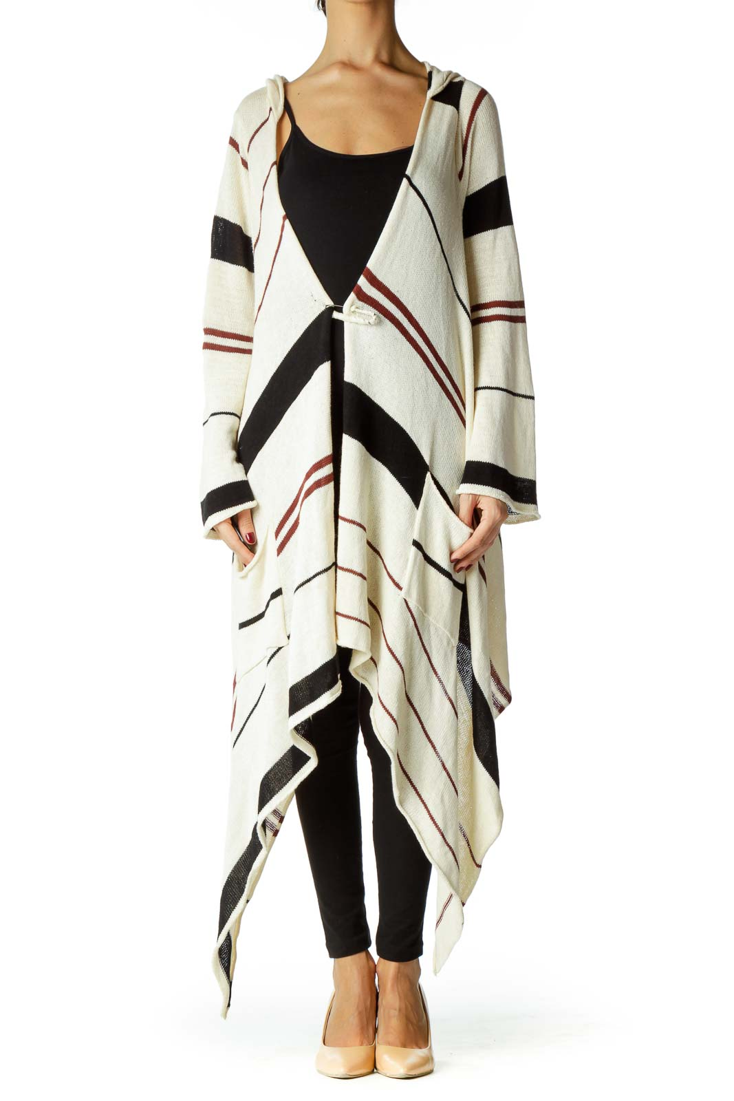 Cream Red Black Striped Knit Cardigan