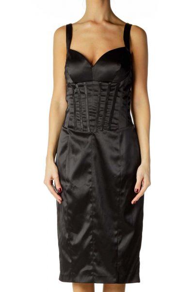 Black Satin Midi Cocktail Dress