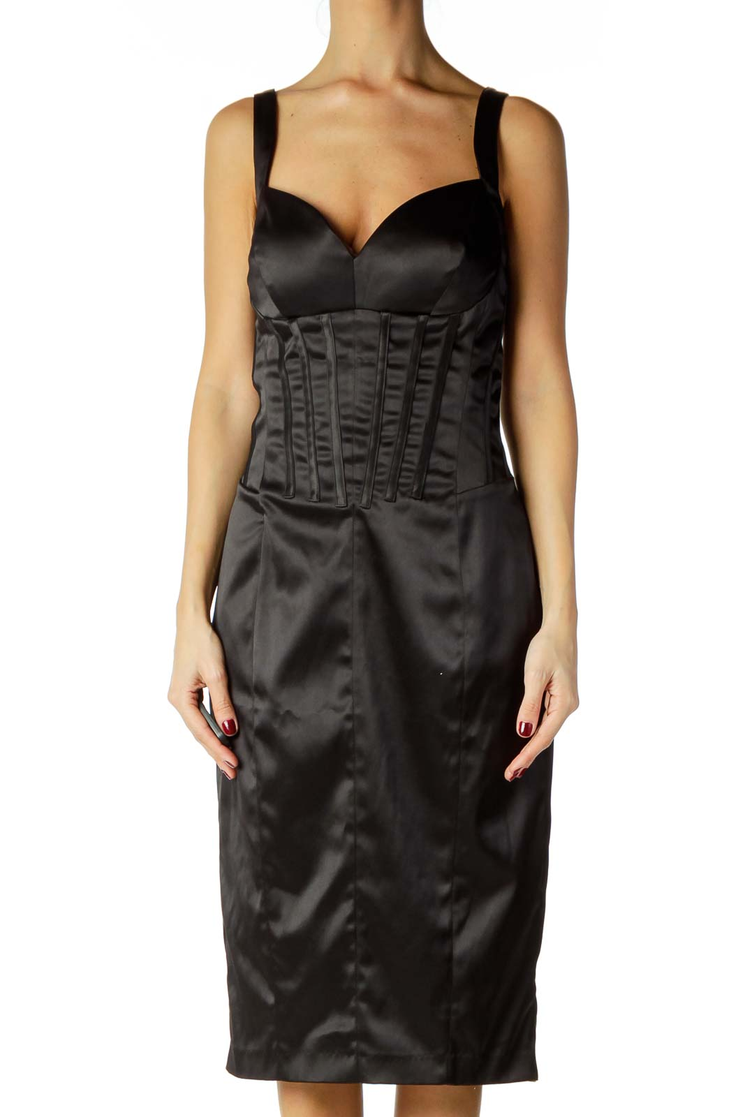 Black Satin Midi Cocktail Dress