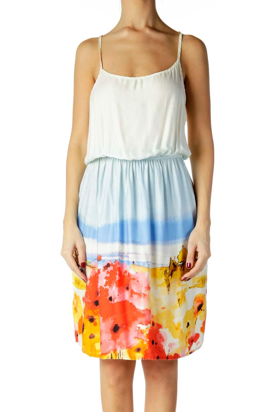 Blue White Tie Dye Jersey Dress