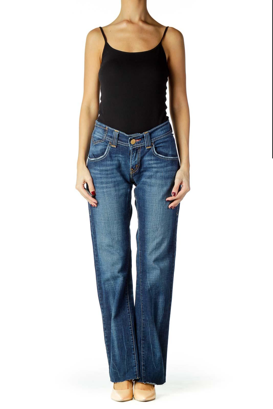 Blue Denim Flared Jeans