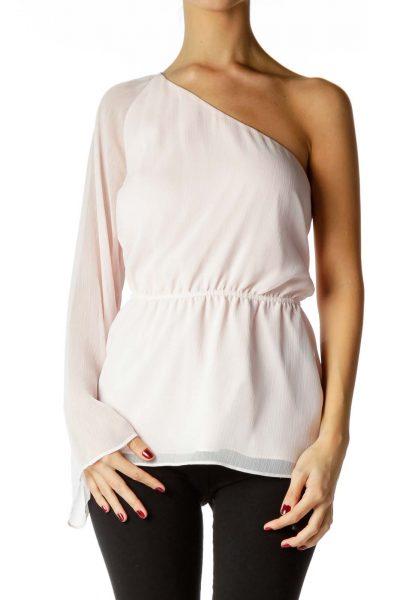 Pink One-Shoulder Chiffon Blouse