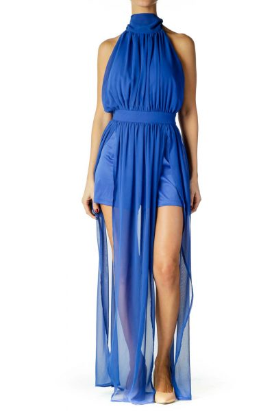 Blue Halter Sheer Dress
