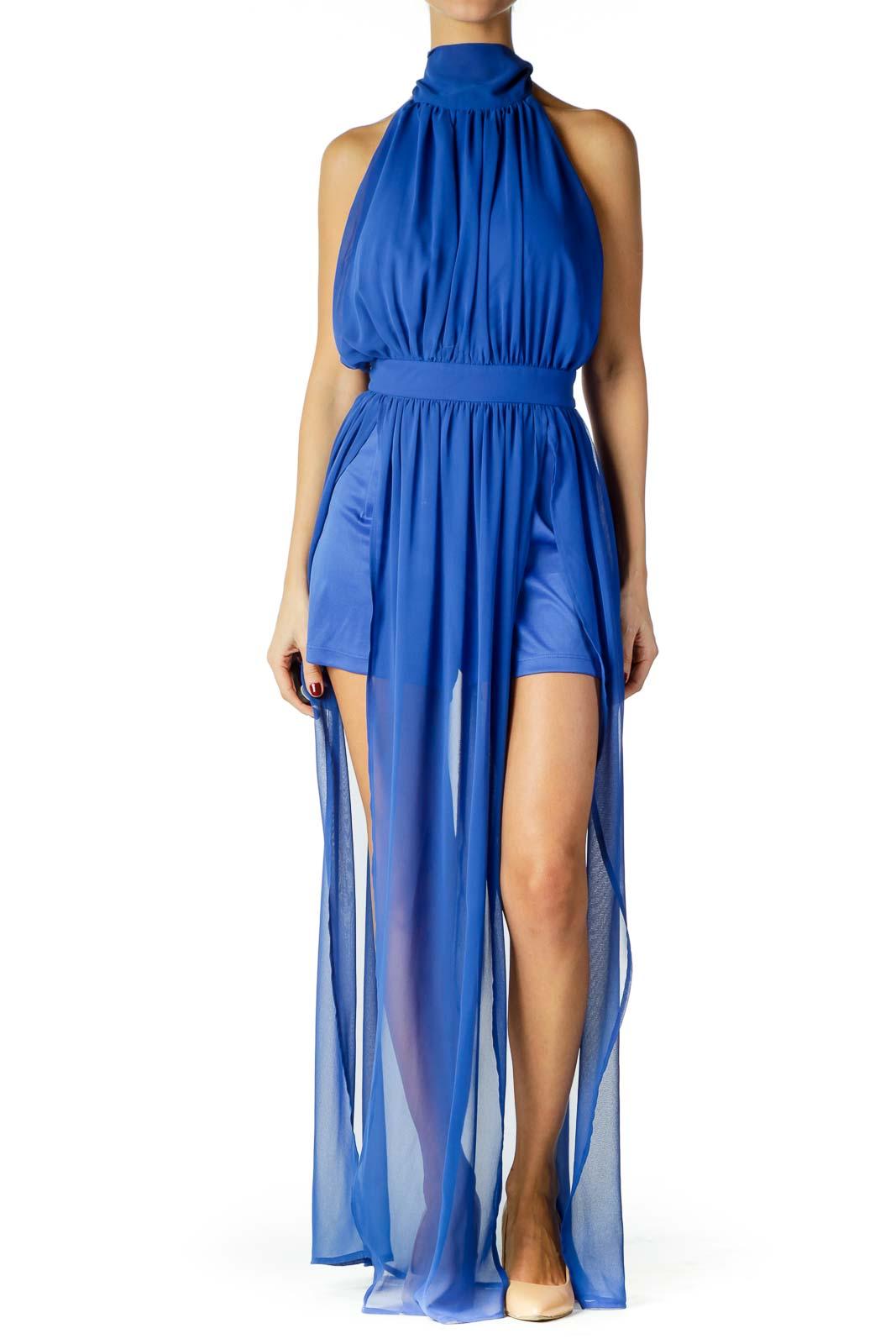 Blue Halter Sheer Dress