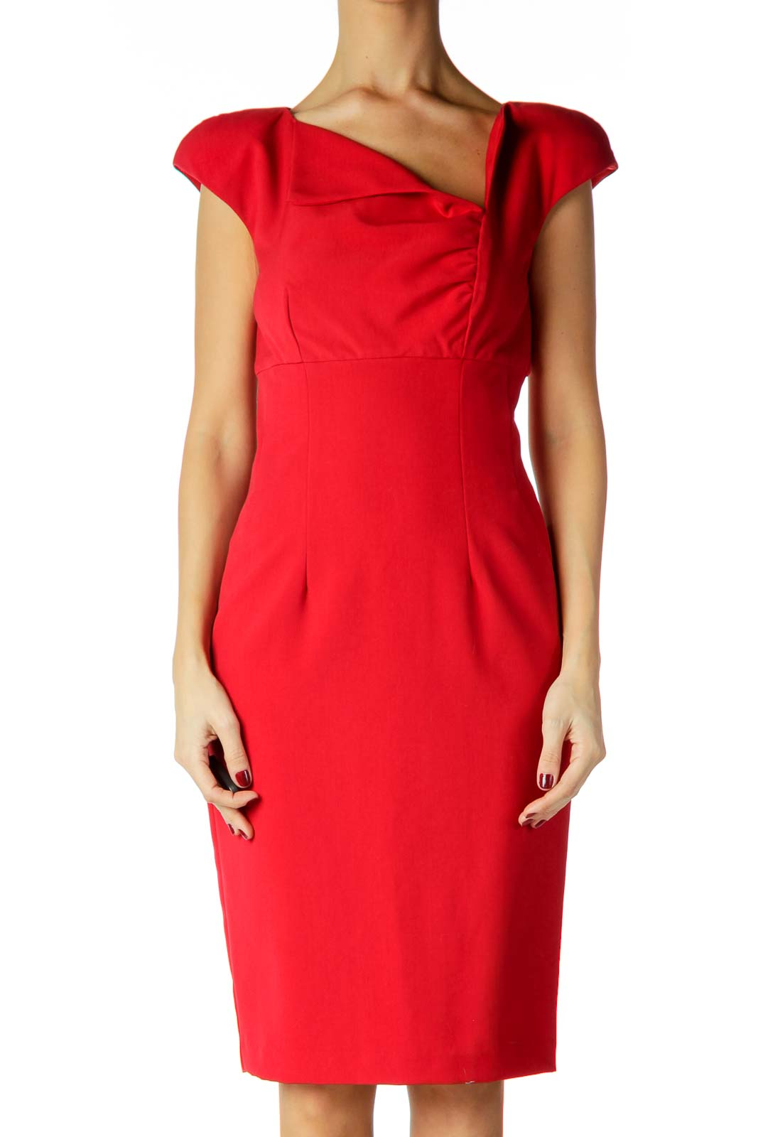 Red Ruched Work Dress