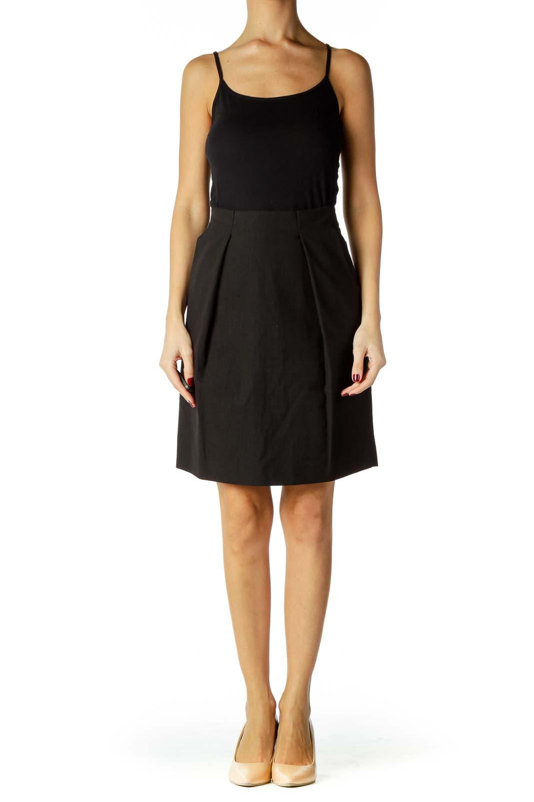 Black Linen Pleated Skirt